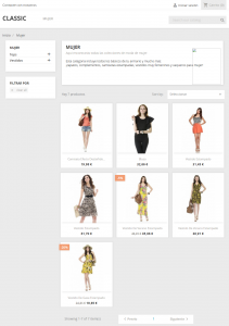 Página de Productos en la versión 1.7 de PrestaShop